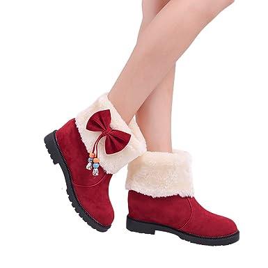Botas para Mujer de Piel de Invierno Plana, Zapatos de cuña de Ante