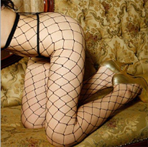 Women's Long Sexy Fishnet Stockings Fish Net Pantyhose Mesh Lingerie Skin Thigh High Stocking (Black)