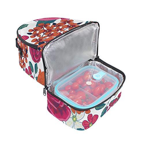 Cooler floral l'école Hello Tote Pincnic avec Spring pour Folpply à isotherme Boîte bandoulière Sac Imprimé à lunch réglable qzUdxt