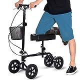 Giantex Steerable Foldable Knee Walker Roller Scooter Turning Brake Basket Drive Cart, Black (with Steel Basket)