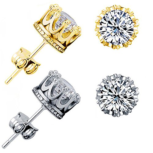 Gold Earrings for Man Small Earring Studs Men Earrings for Piercing Ear Round Cut CZ Crown Earring (Cute 6MM)