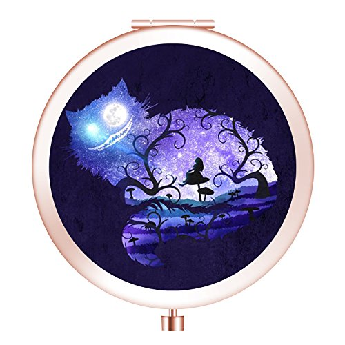 Travel Mirror, Customized Portable Round Mini Makeup Mirror with Double Sides 2x &1x Magnification Good Gift for Girls - Cheshire Cat]()