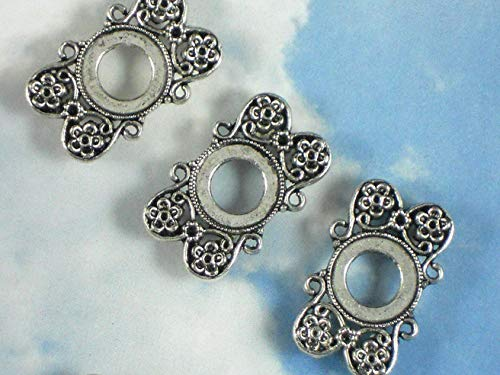 10 Flower Sliders 12mm Bezel Settings 2 Strand Antique Silver Tone Vintage Crafting Pendant Jewelry Making Supplies - DIY for Necklace Bracelet Accessories by CharmingSS