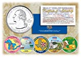2004 US Statehood Quarters COLORIZED Legal Tender 5-Coin Complete Set w/Capsules by Merrick Mint