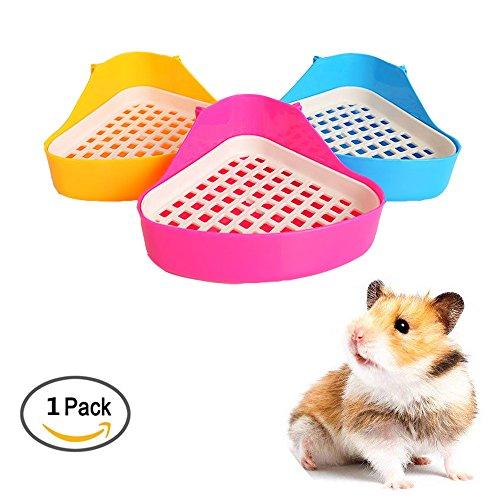 Unetox Bacteriostatic Small Animal Triangle Toilet Potty Trainer Pet Pee Corner Litter Pee Tray Bedding Box Training for Hamster Guinea Pig Cat Bunny Ferret (Color Random)