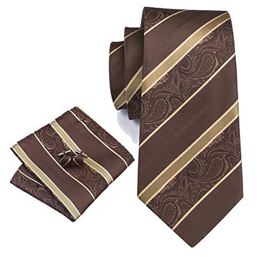 (YOHOWA Mens Brown Silk Tie Pocket Square Stripe Necktie Cufflinks Set)