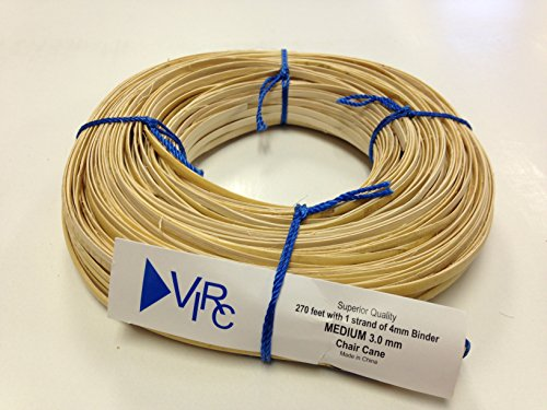 Chair Cane Medium 3mm 270 ft coil with 1 strand of 4mm Binder Cane by V.I. Reed & Cane, Inc.