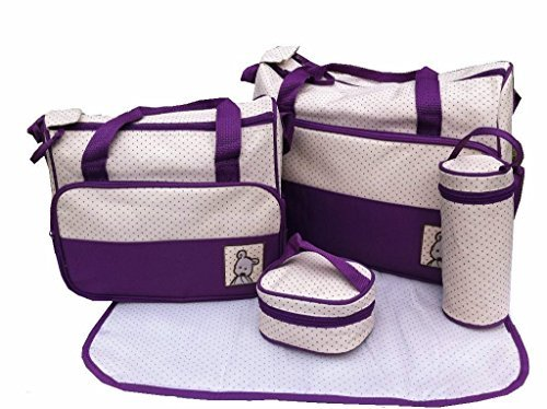 5pcs Baby Nappy Changing Bags Set in Purple by just4baby