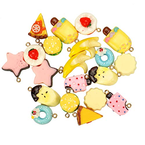 - WSSROGY 20Pcs Slime Charms Pendant Assorted Food Cake Ice-Cream for Crafts Keychain Jewelry Making