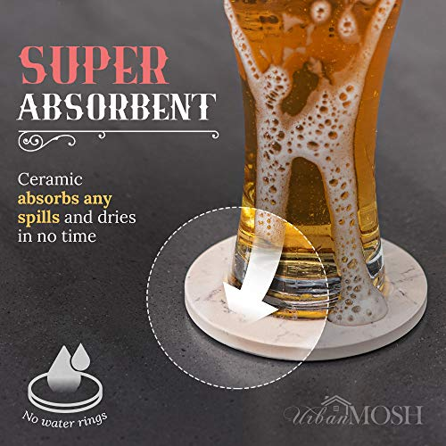 Coasters for Drinks | Absorbent Drink Coaster (6-Piece Set) | Housewarming Hostess Gifts for New Home, Man Cave House… 4