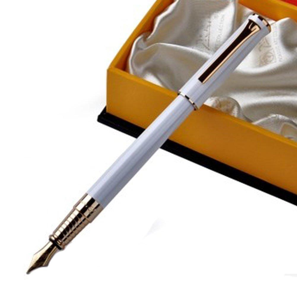 Elegant White Barrel Gold Trim Fountain Pen Medium Nib Delivered in Gift Box Panda Superstore PS-OFF1069820-JACKY00174