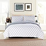 Lux Decor Collection Duvet Cover Set, 1800 Count Soft Egyptian Quality Hotel Luxury Queen Premium Bedding Duvet Cover, 3 Piece Luxury Soft, 2 Pillow Shams (Full/Queen, White/Grey)