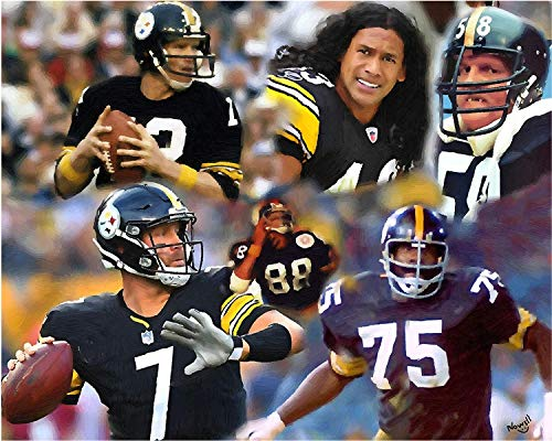 11 x 14 Inch Puzzle Pittsburgh Steelers Legends Including Terry Bradshaw Oil Painting