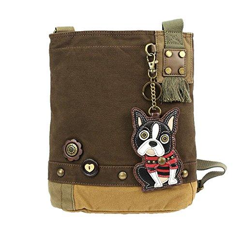 - Chala Patch Cross-Body Women Handbag, Dark Brown Canvas Messenger Bag - Boston Terrier