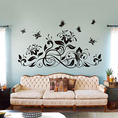 ForRealProducts Unique Black Flower Vine Butterfly Home Decor Art Decal Removable Wall Stickers Removable Vinyl Waterlily DIY Art Decoration Teens Baby Girls Living Room Home Wall Kitchen Basement