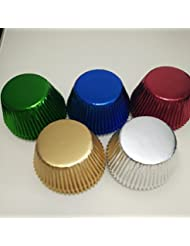 5 color mix Gold,Silver,Blue,Green,Red Foil Metallic Muffin Cupcake Liners Paper case Baking Cups 500 pcs,Standard Size