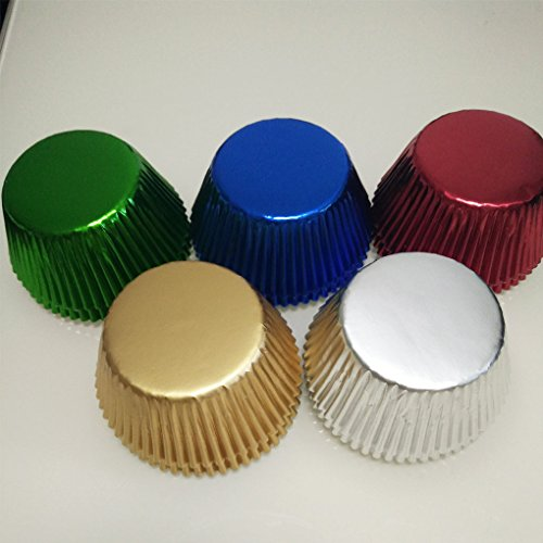 Foil Standard Baking Cups - 5 color mix Gold,Silver,Blue,Green,Red Foil Metallic Muffin Cupcake Liners Paper case Baking Cups 500 pcs,Standard Size