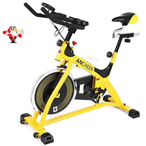 ANCHEER Indoor Cycling Bike, Belt Drive Indoor Exercise Bike with 40LBS Flywheel, Pulse (Yellow)