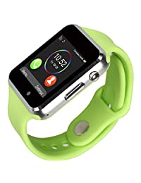Kivors Bluetooth Smart Watch Touch Screen with Sim Card GSM Sport Watch Activity Tracker Pedometer Wrist Watch for IOS Apple iPhone, Android Samsung HTC Sony LG Smartphones (Green)