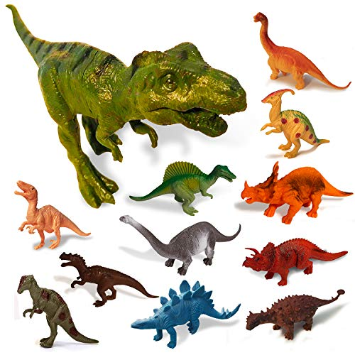 Exciting Dinosaur Toys for Boys & Girls 12-Pack - 7 Inch Large Educational Realistic Dinosaurs Toy Plastic Action Figures for Toddlers - Safe Jurassic T-Rex Figurines Playset for Kids - Great Present