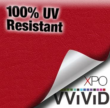 VViViD Red Weatherproof Faux Leather Finish Marine Vinyl Fabric 1.5ft x 54