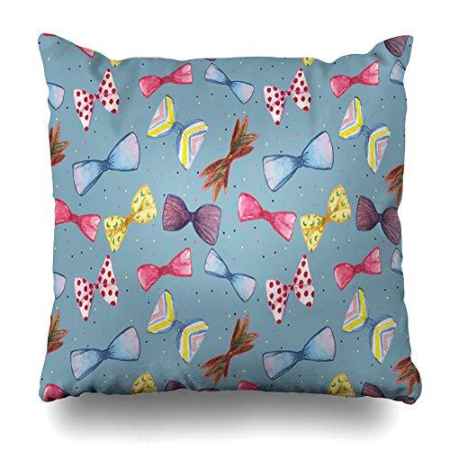 Ahawoso Throw Pillow Cover 3F3f3f3f3f3f3f3f3f3f Watercolor Bow Ties Pattern On Cerulean Blue 3F3f3f3f3f3f Box Design Decorative Zipper Cushion Case Square 18