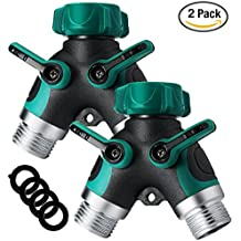 2 Pack Coxtech Metal Garden Hose Splitter 2 Way Y Valve Hose Connector Water Spigot Faucet Splitter with Comfortable Rubberized Grip, 4 Rubber Hose Washers For Outdoor Lawn Sprinkler Irrigation Drip