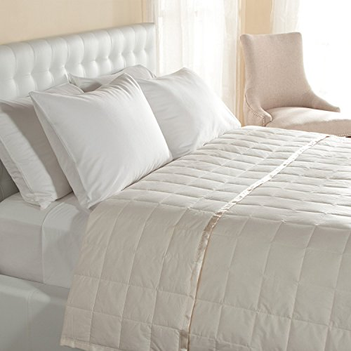 DOWNLITE Hypoallergenic 230 TC Light Weight Oversized Queen Down Blanket With Satin Trim - Light Weight - Perfect For Summer - Available In White and Ivory - 94