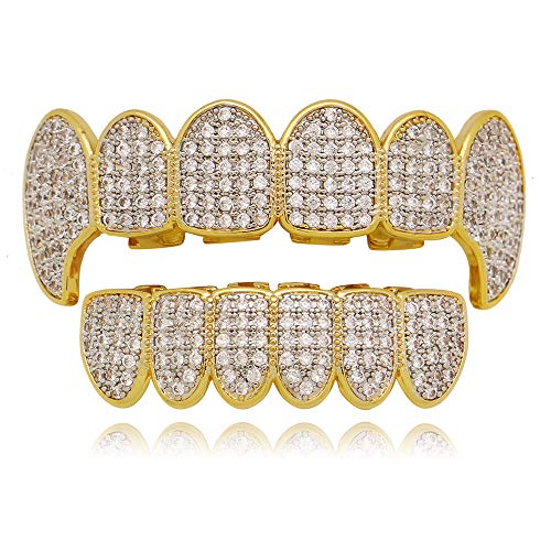f3371ccfd854c LuReen Gold Teeth Grillz Pave CZ Vampire Fangs Grillz for You Teeth with 4  Silicon Molding Bars(2 Extra)