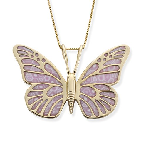 Gold Plated Sterling Silver Butterfly Necklace Handmade Rose Pink Polymer Clay Jewelry, 16.5
