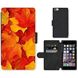 PU Cuir Flip Etui Portefeuille Coque Case Cover véritable Leather Housse Couvrir Couverture Fermeture Magnetique Silicone Support Carte Slots Protection Shell // V00001670 hojas de otoño // Apple iPhone 6 4.7""