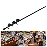 1 Piece Auger Drill Bit, Non-Slip - Garden Plant Flower Earth Auger Bit, Fence Post Hole Digger Drill Bit- Bulb & Bedding Plant Auger Seeds Remover Tool 40mm*450mm/1.5'X17.7' (Black)