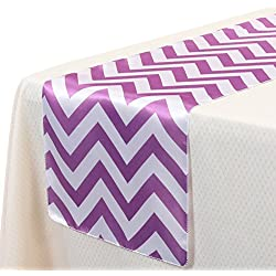 VEEYOO 14x108 Inch Satin Chevron Wedding Party Table Runner Cloth Cover Purple