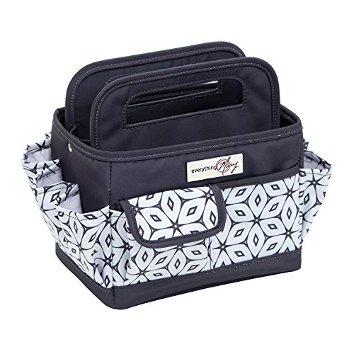 Everything Mary Grey Desktop Tote Storage Organizer - Bin for Tools, Crafts, Home, Garage, Make-up, Office Desk, Nursery - Tote for Crafts, Brushes, Thread, Arts and Craft Supplies for (Organizer Handle Tote)