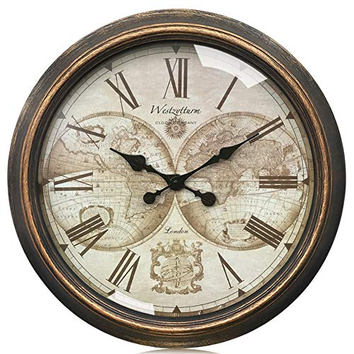 Westzytturm Basic Wall Clock Vintage 30 inch Huge Round World Face Metal Hands Plate Gold Retro Silent Non Ticking Battery Operated Rustic Giant Big Clocks Home Decor Art Living Room Office Mantel (Living Room Mantel Decor)