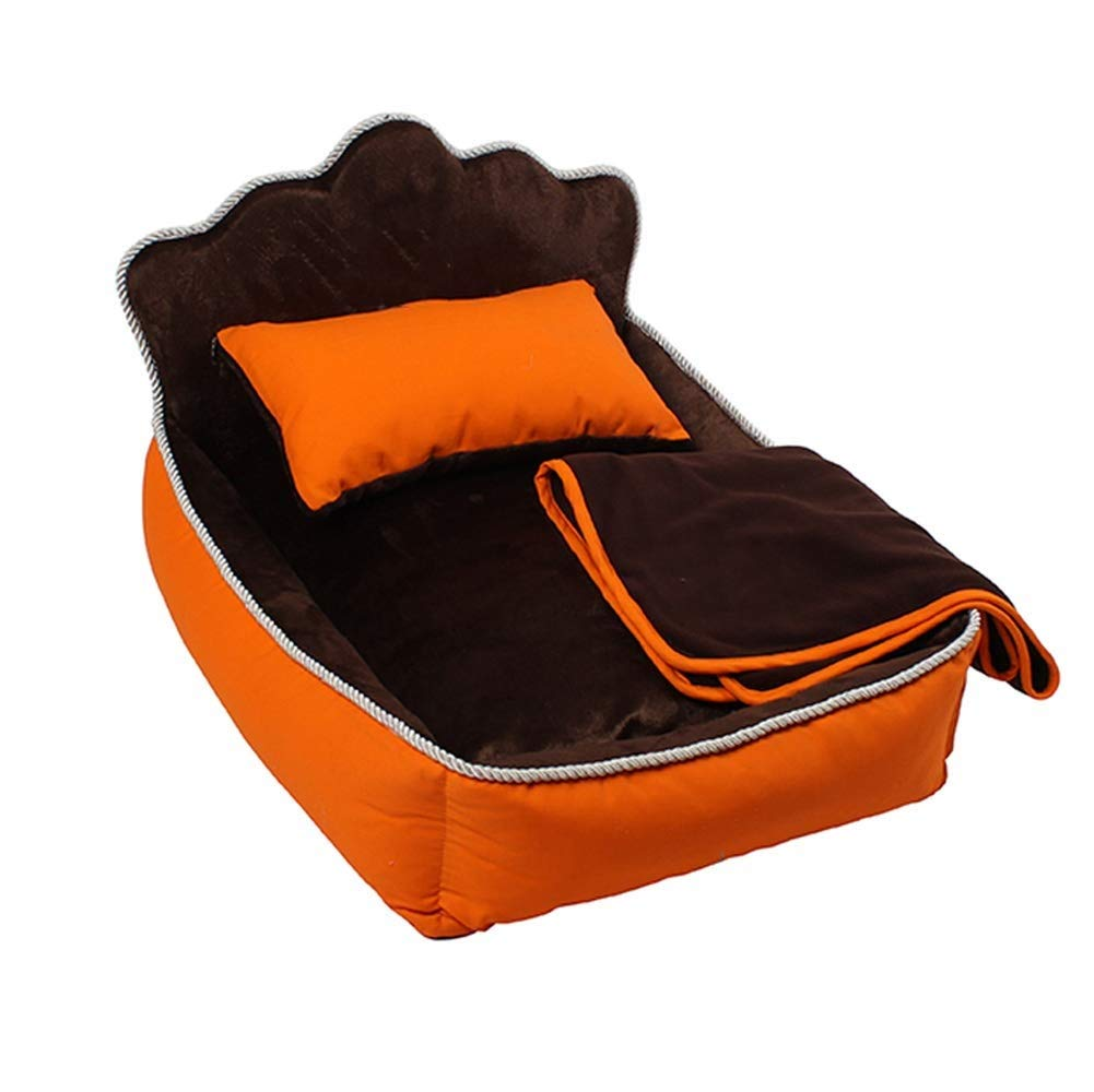 orange S orange S WKMJUSX Kennel Removable And Washable Winter Warm Princess Bed Kennel Cotton Size Dog Pet Cat Litter Strong, Breathable, Wear-resistant, Strong Bite Resistance (color   orange, Size   S)