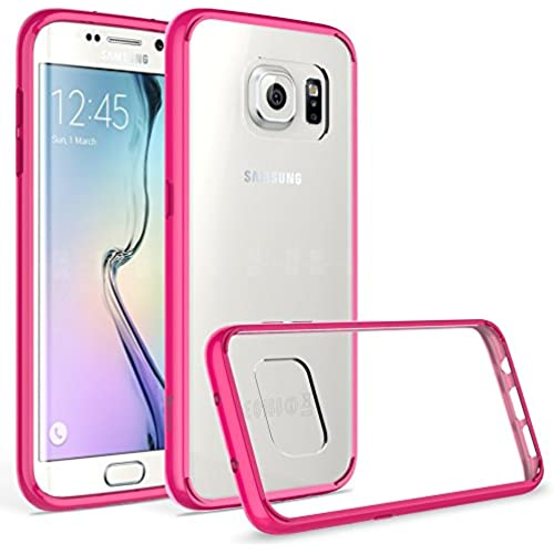 Samsung Galaxy S7 Edge Case, Bastex Slim Fit Shock Absorbing Flexible Clear Hard Rubber Fused Hot Pink Bumper Sales