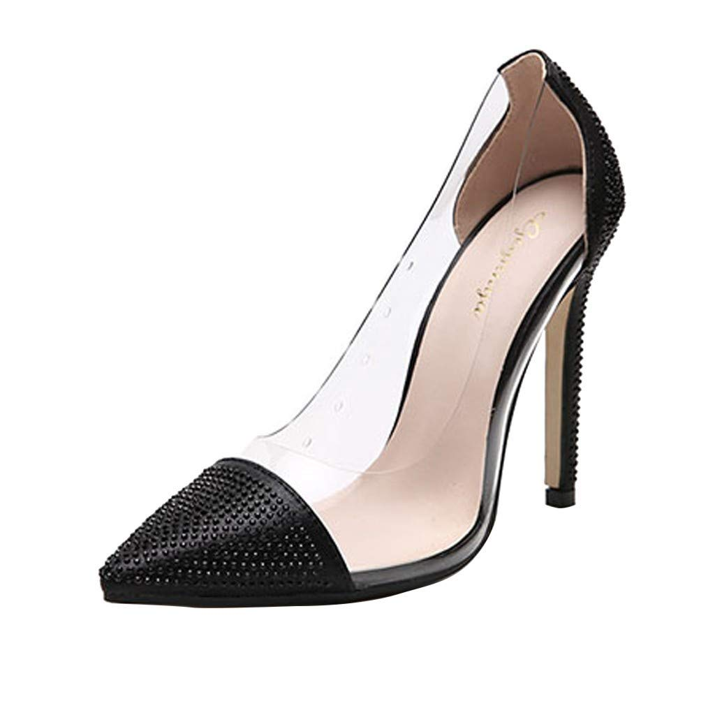 ZOMUSAR New! 2019 Women's Summer Casual Fashion Rhinestone Pointed Nightclub High Heels Shoes Black