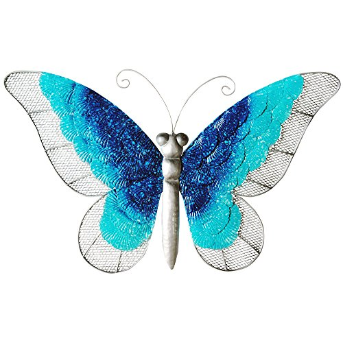 """Comfy Hour 10"""" Blue White Metal Art Butterfly Wall Decor"""