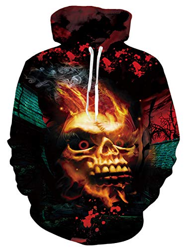 Uideazone Skull Smoke Graphic Hoodies for Men Women 3D Print Pullover Sweatshirts Small