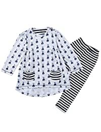 Rainbow25 2Pcs Girls Cute Bunny Clothing Set Long Strip Pants Outfit Set Girl's Gift