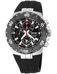 Seiko Mens SNAD61 Sport Alarm Chronograph Black Bezel Urethane Strap Watch