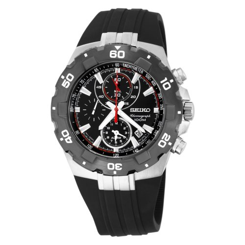 Seiko Men's SNAD61 Sport Alarm Chronograph Black Bezel Urethane Strap Watch