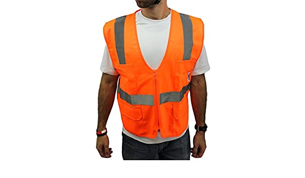 True Crest High Visibility Vest with Four Front Pockets, Meets ANSI/ISEA, Medium - Safety Vests - Amazon.com