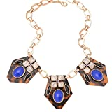 Real Spark Womens Golden Chain Sexy Purple Stone Metallic Chunky Statement Necklace