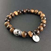 Mens Skull Bracelet ,Personalized Men Wristband with Hand Stamped Initial tag