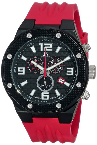 Joshua & Sons Men's JS62RD Black Multifunction Swiss Quartz Watch with Black Dial and Red Silicone Strap