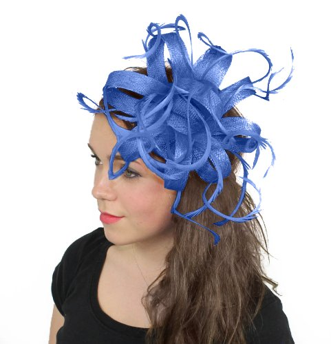 Kremena Feathers Ascot Fascinator Hat With Headband - Royal Blue by Hats By Cressida