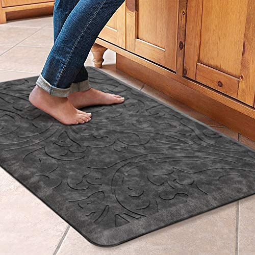 "KMAT Kitchen Mat Cushioned Anti-Fatigue Floor Mat Waterproof Non-Slip Standing Mat Ergonomic Comfort Floor Mat Rug for Home,Office,Sink,Laundry,Desk 20""(W) x 30""(L),Grey"