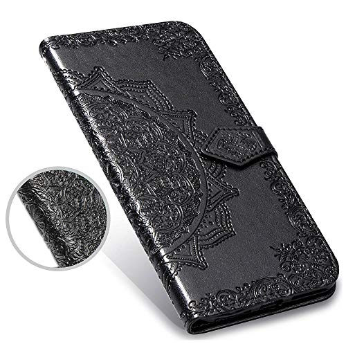 Galaxy S8 Case,S8 Wallet Case,Luxury Henna Mandala Floral Flower PU Leather Flip Folio Phone Protective Case Cover for Samsung Galaxy S8 G920 with Credit Card Slot Holder Kickstand,Black